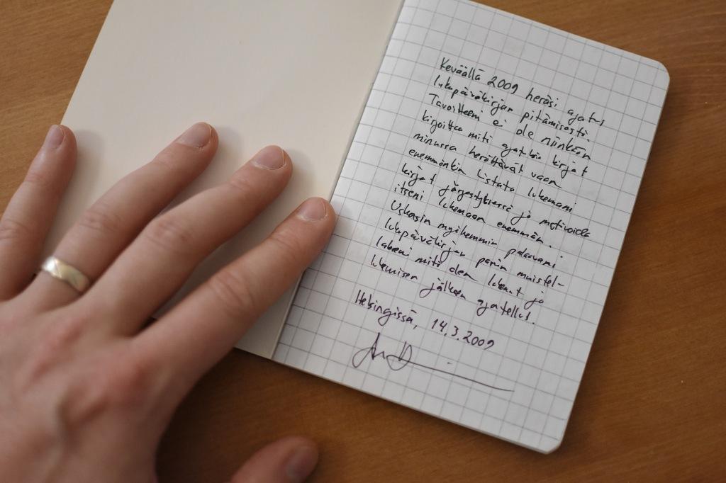 Lukupäiväkirjan aloitusteksti