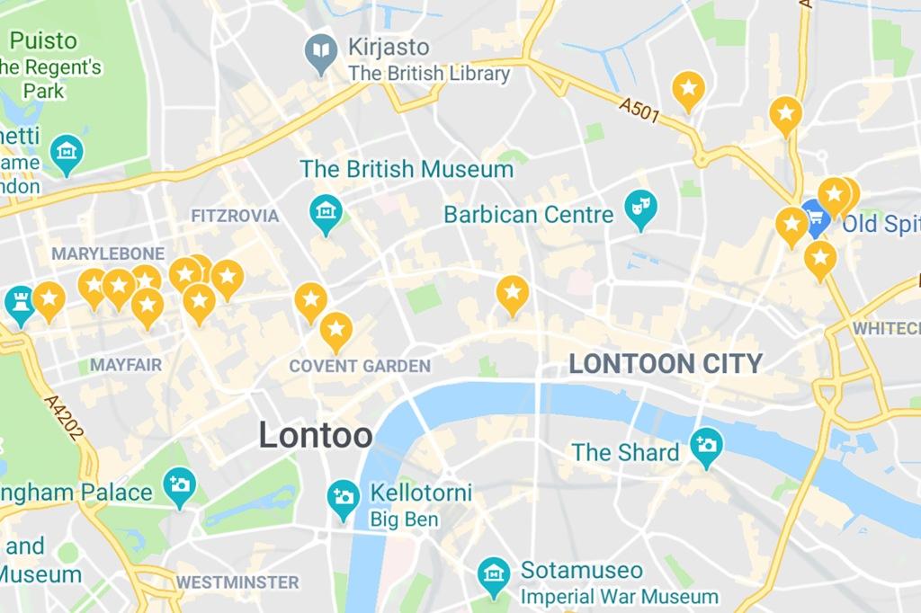 Lontoo Shoppailukartta