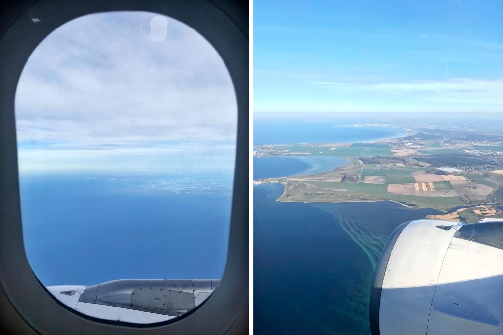 Näkymiä lentokoneen ikkunasta matkalla Kööpenhaminaan
