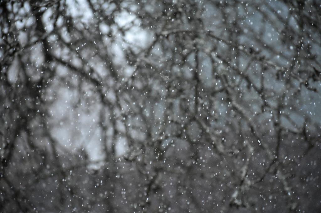 Huhtikuinen lumisade Espoossa