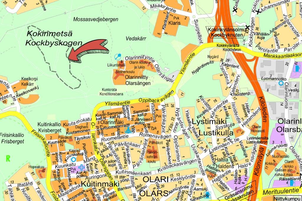 Olarin terveysluontopolun sijainti kartalla