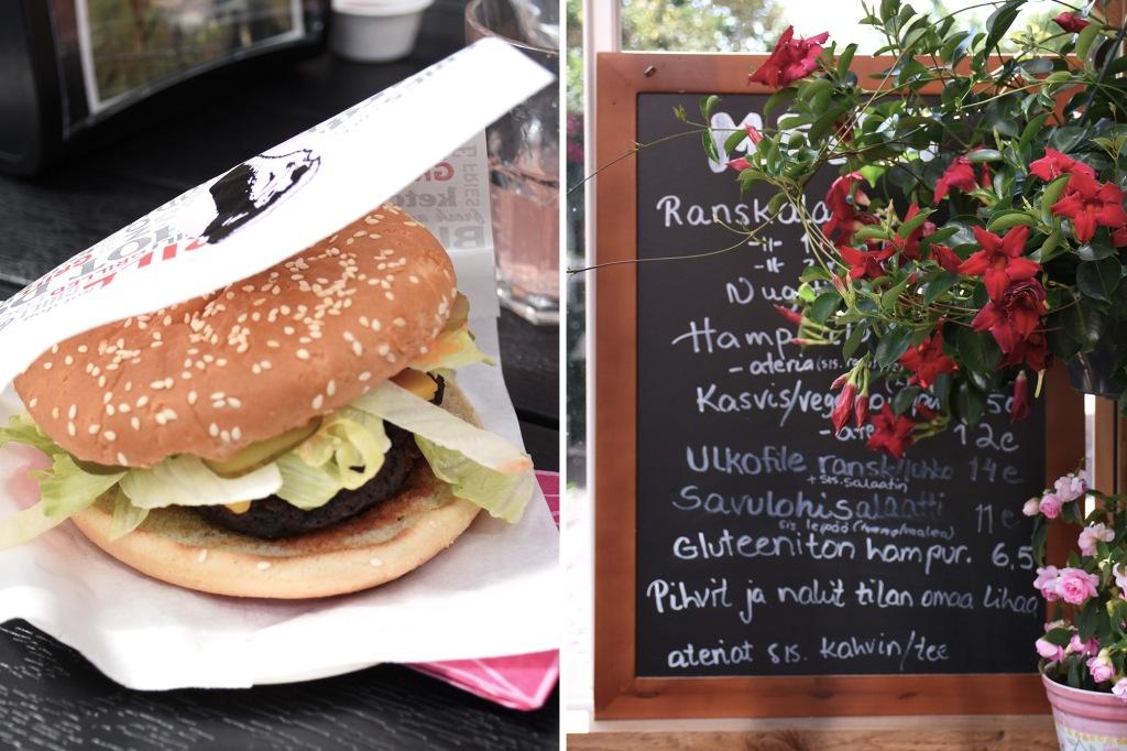 Kilkkilän farmin strutsiburgeri ja ruokalistaa